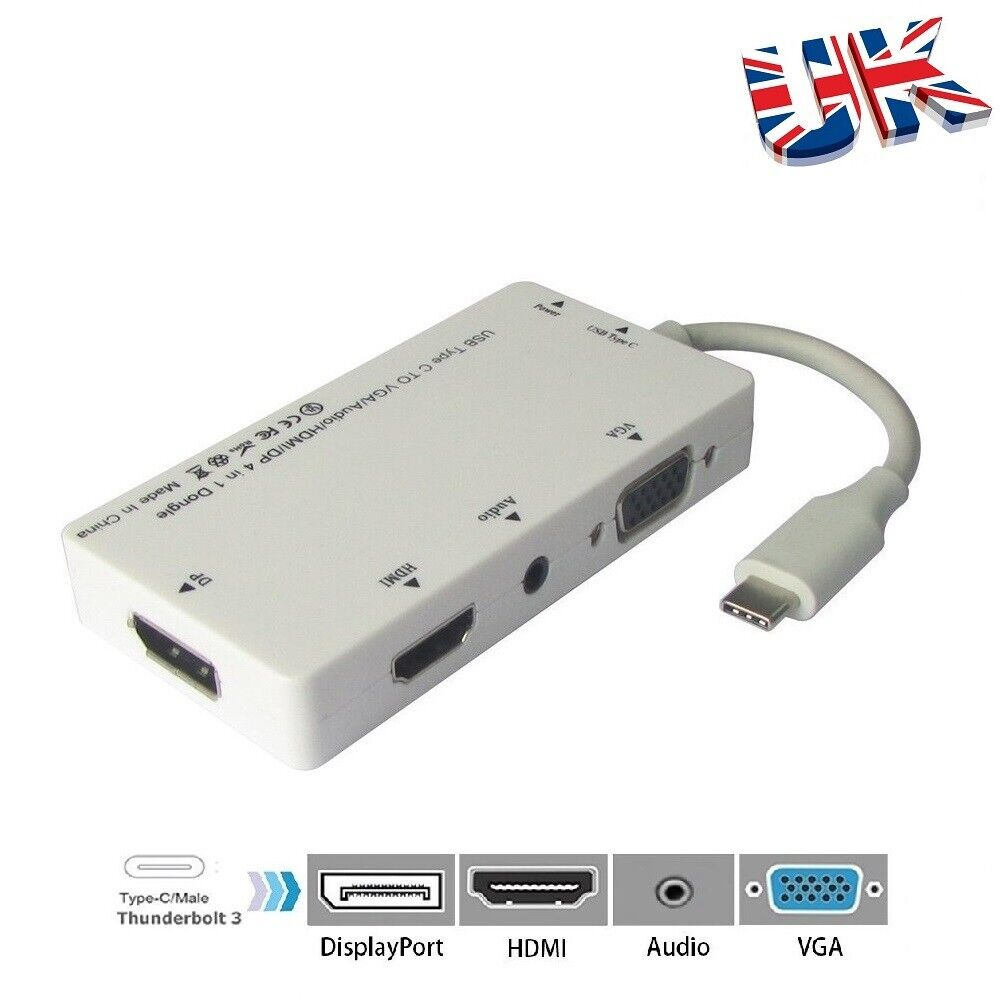 USB 3.1 USB C  Type C to VGA HDMI DVI AUDIO Adapter Hub For Apple Macbook PC UK