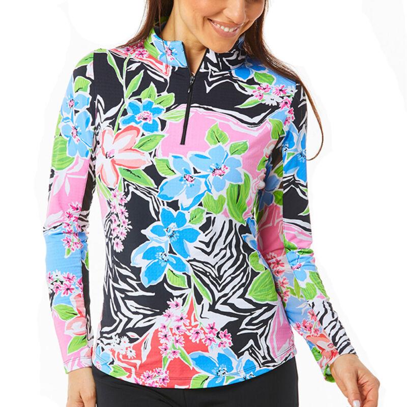 IBKUL Ladies Long Sleeve Mock Neck Top - Amelia Print