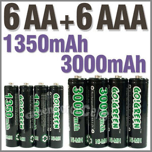 Piles rechargeables AAA 1350 mAh 6 Piles rechargeables AA 3000 mAh