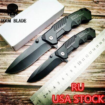Quick Open Knives Black Folding Pocket Knife Tactical Survival Camping Hunting Black Tactical Pocket Knife
