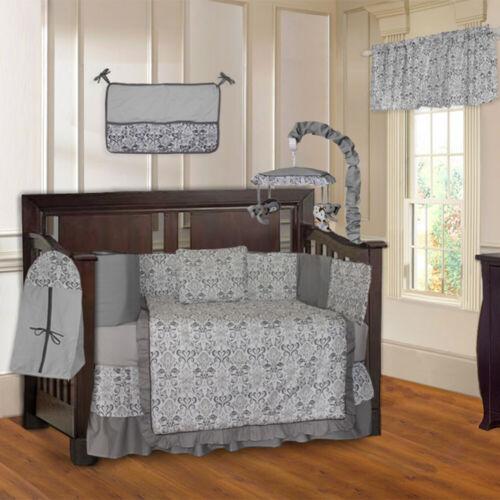BabyFad 10 Piece Damask Gray Baby Crib Bedding set