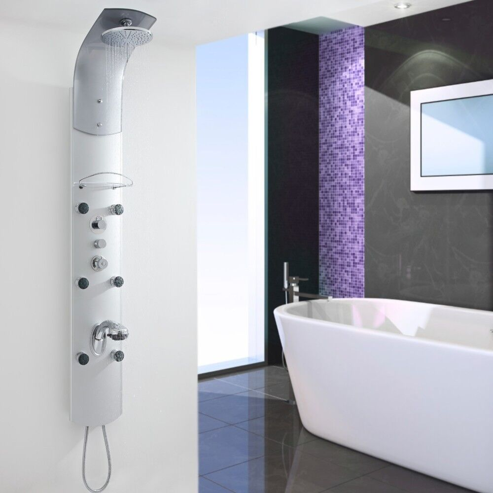 Brand New Milano Thermostatic Shower Tower Panel Unit With Handset And 6 Body Jets