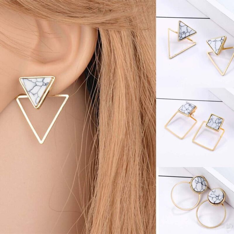 Lady Geometric Round Triangle Square Marble Pattern Earrings