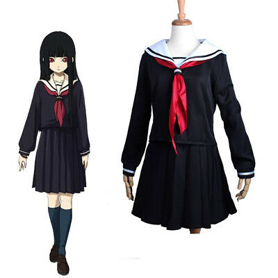 Halloween For Girl (Enma Ai Hell Girl Cosplay Japanese School Student Uniform For Halloween)