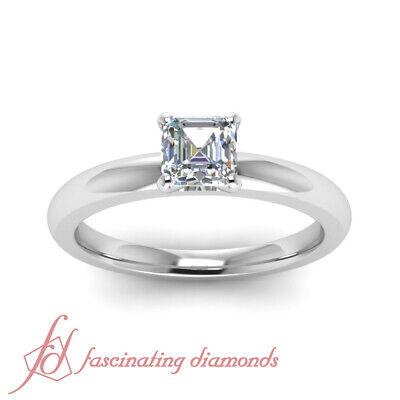 1/2 Carat Asscher Cut:Very Good Diamond Solitaire 14K Gold Engagement Ring GIA 1