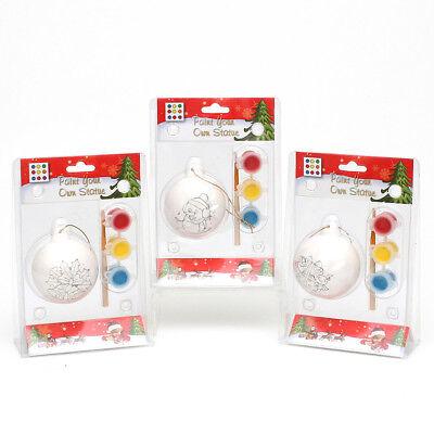 3 x Keramik Kugel Baumbehang zum bemalen basteln + 3 Farben 7 cm 70474