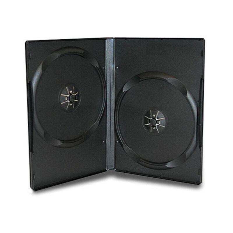 50 Standard 14mm Double 2 CD DVD Disc Black Case Movie Video Box
