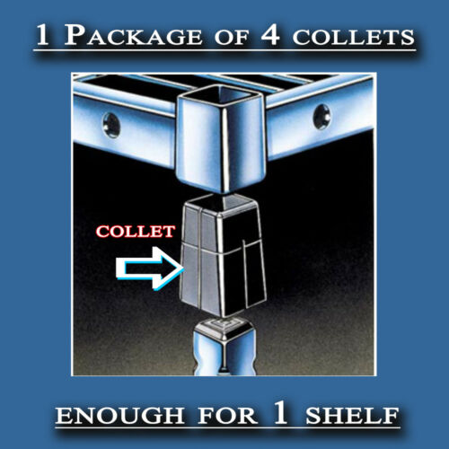 1 Package Amco Square Collets/Clips Black Plastic Shelving Brackets MF# - COLZ