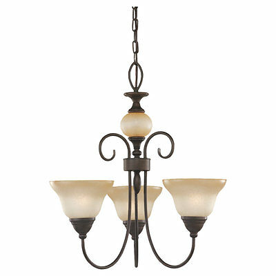 SEA GULL LIGHTING MONTECLAIRE COLLECTION CHANDELIER 31105-72 OLDE IRON FINISH 3 Light Old Iron