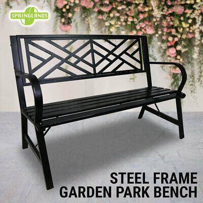 Garden Furniture - Park Bench Steel Frame Garden Outdoor Seat Timber Chair Furniture Black