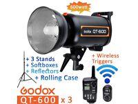 3 Godox QT-600 600W Studio Flash Strobe BIG BUNDLE- Triggers, Softboxes, Stands, Case - BOWENS Mount
