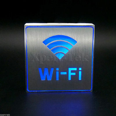 Silver Aluminum Blue Led Light Restroom Wi-fi Sign Bar Ktv Club