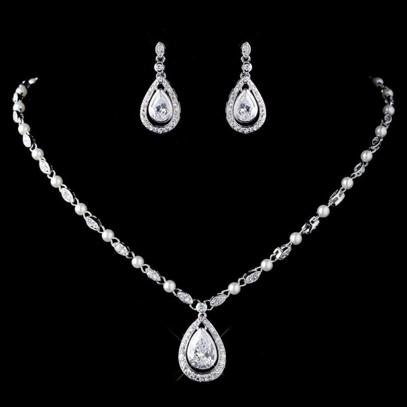 Wedding Bridal CZ Crystal & Diamond White Pearl Necklace & Earring Jewelry Set
