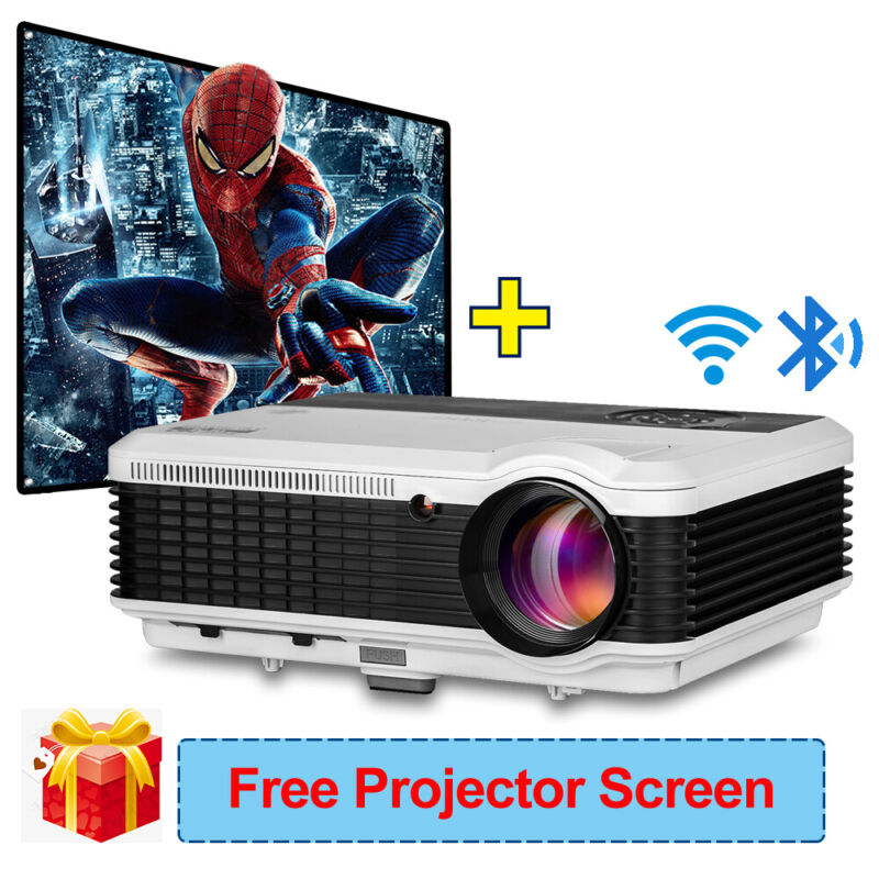 6000lms Android WiFi Projector 1080p Blue-tooth Online YouTube TV & 100