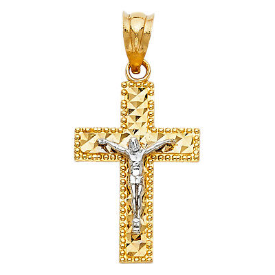(14k Two-tone Solid Gold Crucifix Religious Pendant)