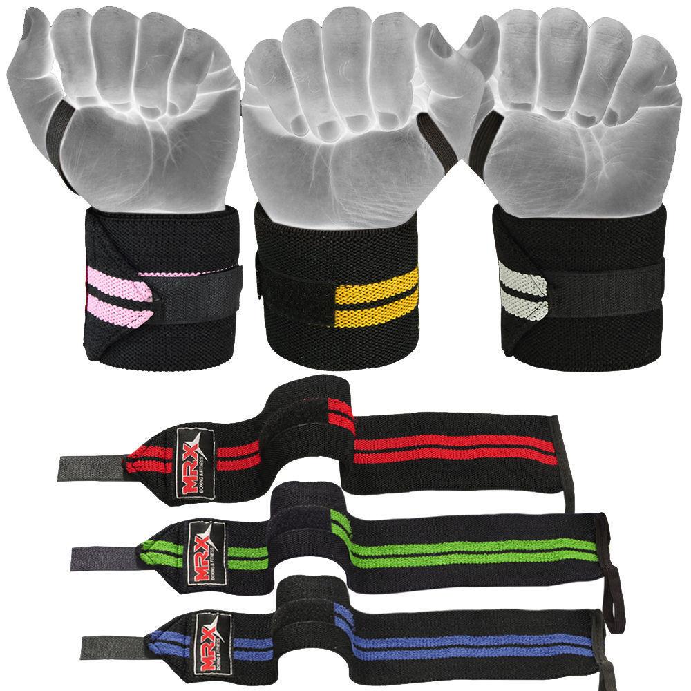 "Weight Lifting Wraps Wrist Gym Training Strap Support Bandages 18/"" Long New MRX"