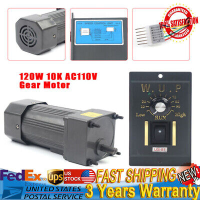 120w 110v Ac Gear Motor Electric Motor W Variable Speed Controller 110 135rpm