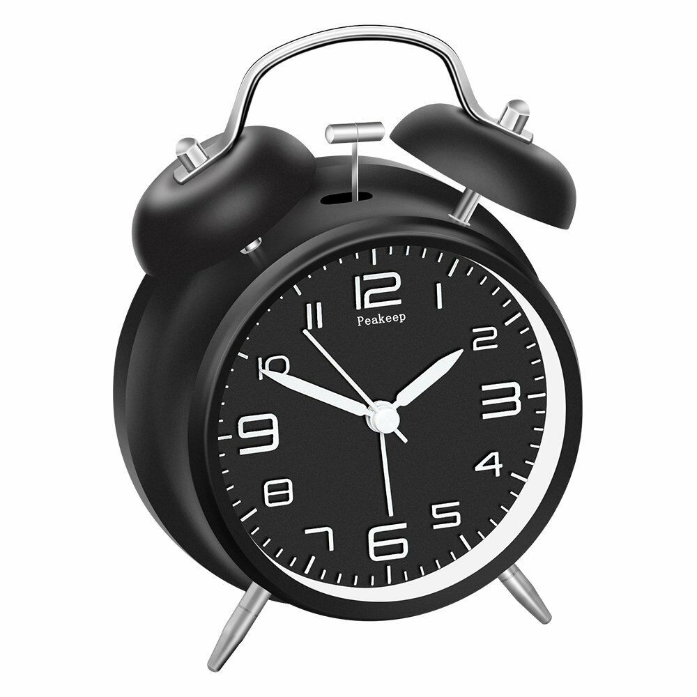 Twin Bell Alarm Clock Stereoscopic Dial Backlight Battery Operated Loud Alarm