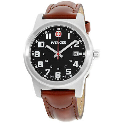 Wenger Field Classic Black Dial Leather Strap Men