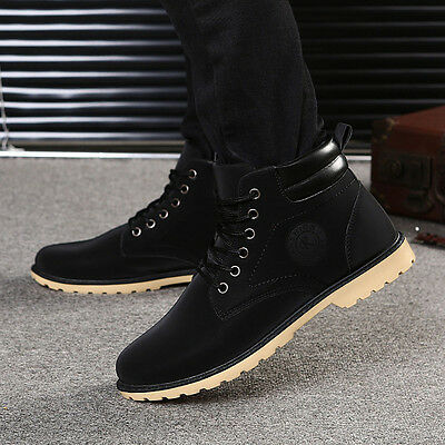 Fashion Men Boy Winter Autumn Warm Ankle Boots Fur Lined Martin Boots Shoes USPS
