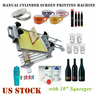 Us Manual Cylinder Screen Printing Machine Pen Cup Bottle Surface Curve Press