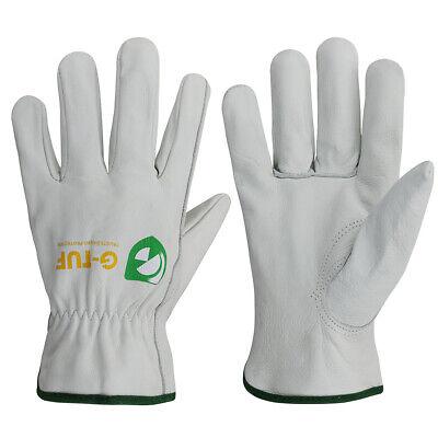 G-tuf Premium Full Grain Thin Cut Cow Leather Work Gloves - Simple Grey