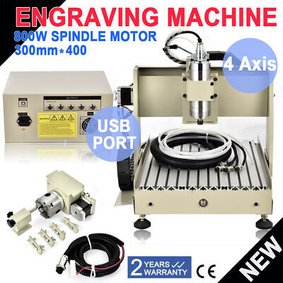 Usb 4 Axis 800w 3040 Cnc Router Engraver Milling Drillengraving Cutter Machine
