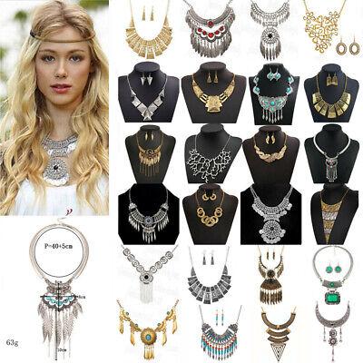 Womens Metal Crystal Necklace Choker Chunky Statement Bib Pendant Chain Jewelry Crystal Bib Statement Necklace