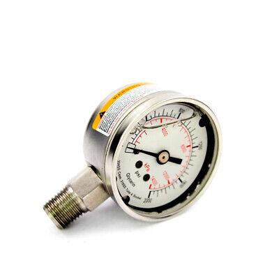 2 Pressure Gauge 0-2000 Psi Glycerin Filled Ss316 Tube Socket 4cfg6