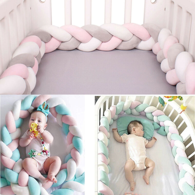 Soft Cotton Baby Crib Cot Bumper Pads Comfy Safety Bed Padded Protector Cushions