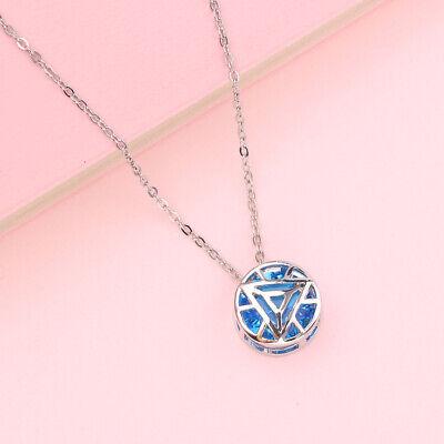 Avengers Endgame Superhero Iron Man Ark Reactor Blue Necklace Pendant Jewelry    - Avengers Jewelry
