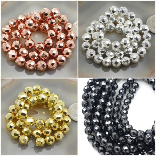 """Natural Hematite Faceted Round Bead 15"""" Shiny Silver Rose Gold 3mm 4 6 8 10 12mm"""