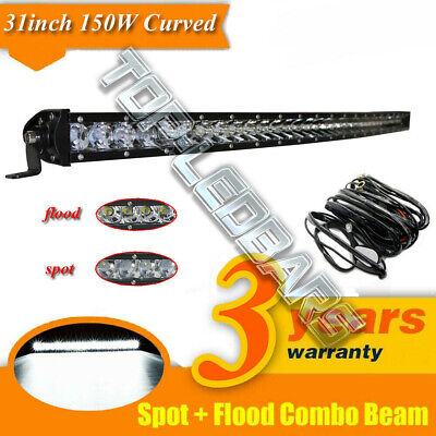 32 inch Curved Led Light bar Spot Flood Offroad For Ford Jeep SUV Truck 4WD ATV