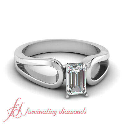 1/2 Ct Emerald Cut SI1-E Color Diamond Loop Duet Solitaire Engagement Ring GIA