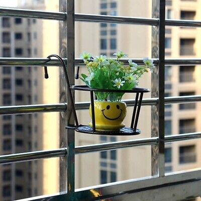 Metal Flower Pot Holder Garden Hanging Plant Wall Stand Basket Rack Shelf Black
