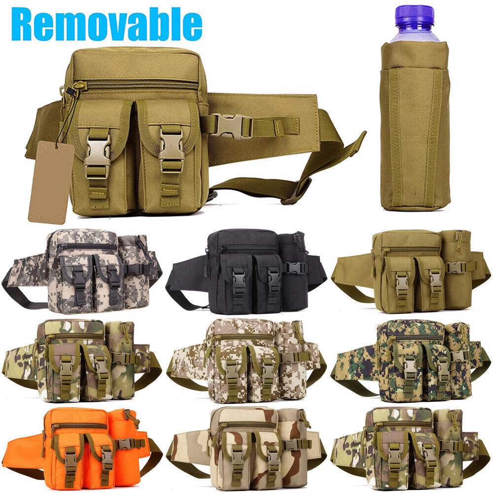 Tactical Fanny Pack with Detachable Water Bottle Holder Pouch Military Waist Bag Bags
