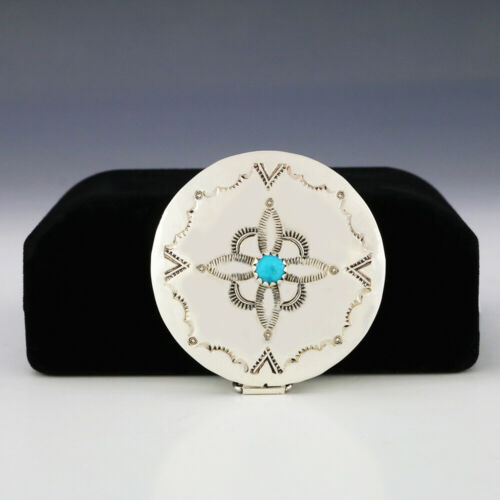 NATIVE AMERICAN NAVAJO STERLING SILVER & TURQUOISE BOX BY JEFFREY CASTILLO