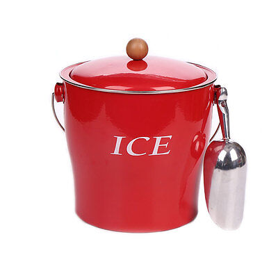 T686 Red Double Wall Ice Bucket 4L Wine Champagne Ice Container With Scoop & -