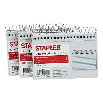 Staples 3 X 5 Line Ruled White Spiral-bound Index Cards 3pack 50991 Tr50991
