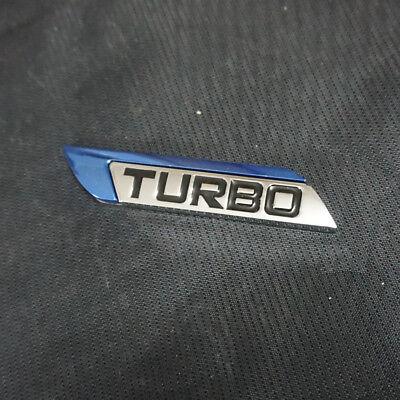 1PC TURBO Blue Left Metal Sticker Emblem Badge 3D Logo Coupe Convertible V6 Auto