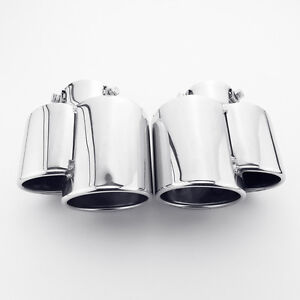Pair Porsche 911 996 Look Dual Out Bolt On Stainless Steel Exhaust Tips 2.25