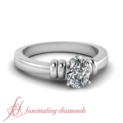 .90 Ct Oval Shaped Diamond Fancy Duple Solitaire Engagement Ring SI2-F Color GIA