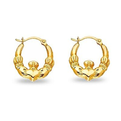 14k Yellow Gold Claddagh Hoop Earrings Hollow Religious Style French Lock Fancy