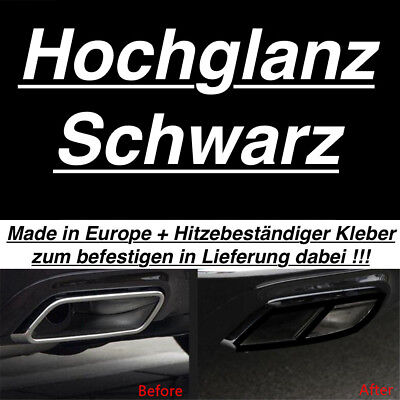 Hochglanz Schwarz Links + Rechts Auspuffblende Auspuff Abdeckung Für Mercedes S