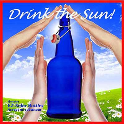Blue Cobalt  Glass Bottles, Blue Solar Water Bottles (32 oz), NEW