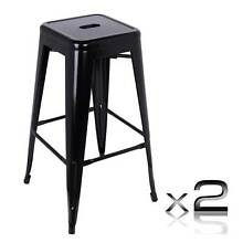 NEW Lees-Set of 2 Steel Kitchen Bar Stool 76cm Black Berwick Casey Area Preview
