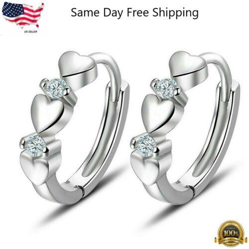 Elegant Heart 925 Silver Hoop Earring Women White Sapphire Jewelry A Pair/set