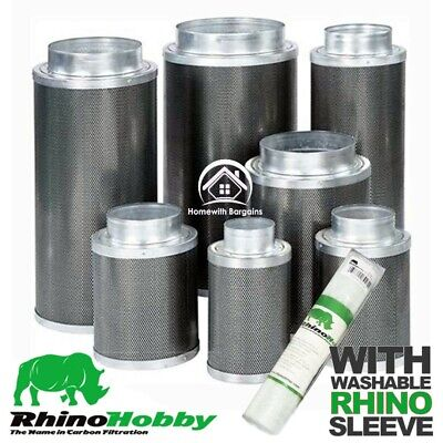 """Carbon Filter RHINO HOBBY 4"""" 5"""" 6"""" 8"""" 10""""  Air Odour Control Hydroponics"""