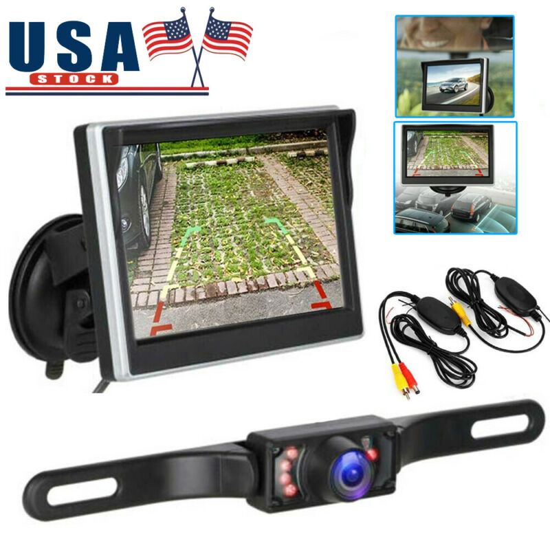 "Wireless Car Backup Camera Rear View System With Night Vision + 5"" LCD Monitor"