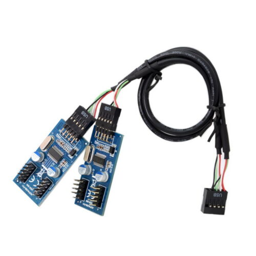 Computer Cables PC Case Internal Motherboard 20Pin Female to 2-Port Double Layer USB 3.0 A Female Adapter Converter Connector USB Gadget Cable Length: Card Adapter
